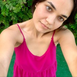 Hot pink cute summer boho simple dress